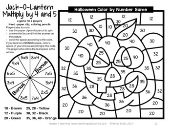 halloween color by number multiplication games - Halloween Color By Numbers