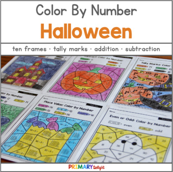 Halloween Color by Number with Number Sense, Addition, Subtraction & Place Value