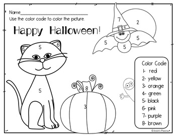 Halloween Color by Number Picture and Color Recognition Sheet