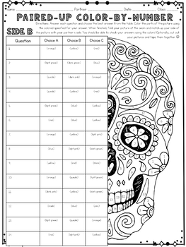 Halloween Color by Number Review Pair Check Activity