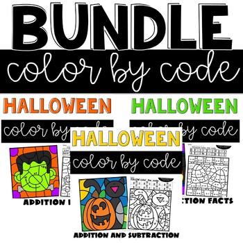 Halloween Color by Number Second Grade Bundle