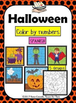 Halloween Color by Number Spanish