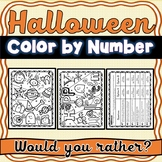Halloween Color by Number :  Would You Rather?