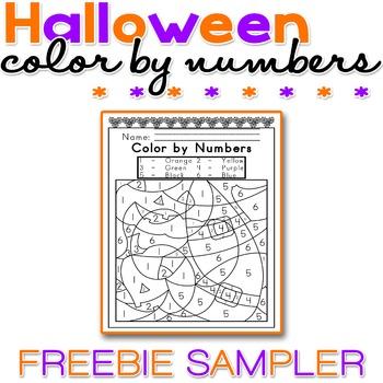 Halloween Color by Numbers FREEBIE SAMPLER - NO PREP - Pri
