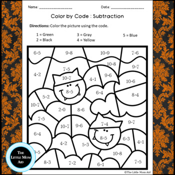 Halloween Color by Numbers Subtraction