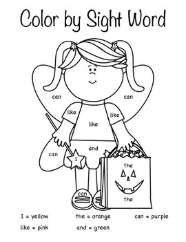 Halloween Color by Sight Word by Kindergarten Days | TpT