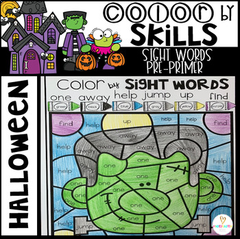 Halloween Color by Code Sight Words Pre-Primer Sight Word Activities