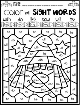 Halloween Color by Sight Words Primer Sight Word Activities