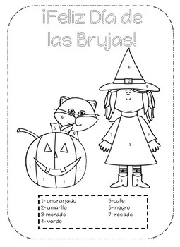 Halloween Color by number Spanish-Dia de las brujas