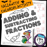 Halloween Coloring Activity - Adding and Subtracting Fractions