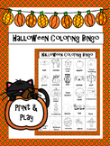 Halloween Coloring Bingo Game & Mini Word Wall