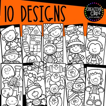 Halloween Coloring Bookmarks {Made by Creative Clips Clipart}