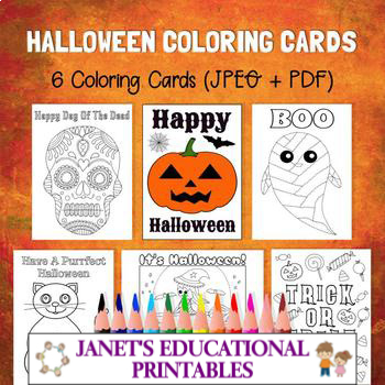 Halloween Coloring Cards - Set of 6