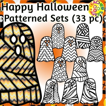 Halloween Coloring Clip Art Set Commercial and Personal Use