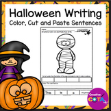 No Prep Halloween Coloring Cut and Paste Sentence Writing