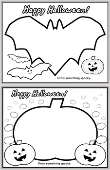 Halloween Coloring/Drawing Printables 4 Pages *FREEBIE!