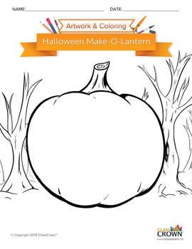 Halloween Coloring Page - Make-O-Lantern - B&W Print Ready