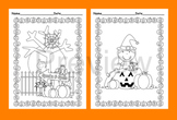 Halloween Coloring Pages - Black and White - 8 Different Designs