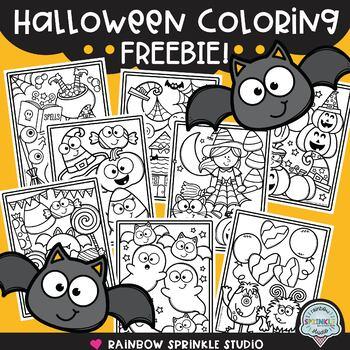 Halloween Coloring Pages Freebie By Rainbow Sprinkle Studio Sasha Mitten