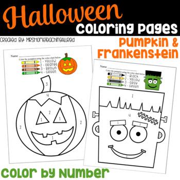 Halloween Coloring Pages / Pumpkin Color By Number / Frankenstein Activities