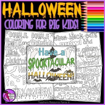 Halloween Quotes Doodle Coloring Pages Sheets