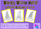 Halloween Coloring Pages Wacky Witch Hats