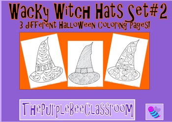 Halloween Coloring Pages Wacky Witch Hats Set#2