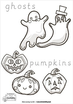 Halloween Coloring Pages with Word Trace