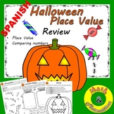 Halloween Coloring Place Value- Comparing Numbers- Bilingual Resource in Spanish