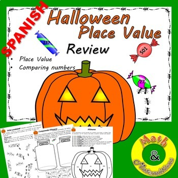 Halloween Coloring Place Value- Comparing Numbers- Bilingu