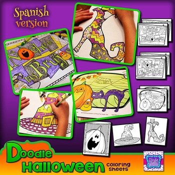 Halloween Doodle Coloring Sheets ~ Spanish version