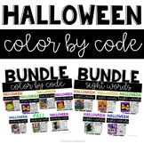 Halloween Coloring Sheets with Sight Words, ELA and Math
