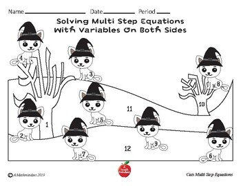 Halloween Coloring Worksheet Solving Multi-step Equations