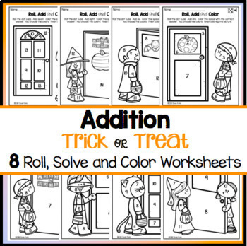Halloween Math Coloring Worksheets Addition Roll, Solve and Color