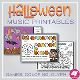 Halloween Music Activities - Worksheets, Color-by-Note, Games