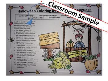 Halloween Grammar & Figurative Language Activity, NO PREP Coloring for Teens