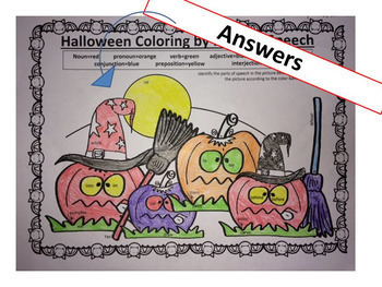 Halloween Grammar & Figurative Language Activities, NO PREP Coloring for Teens