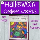 Halloween Coloring with Color Words
