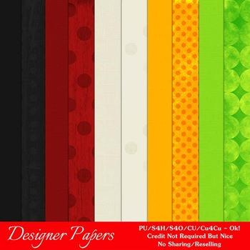 Halloween Colors Pkg7 A4 Size Digital Paper Backgrounds