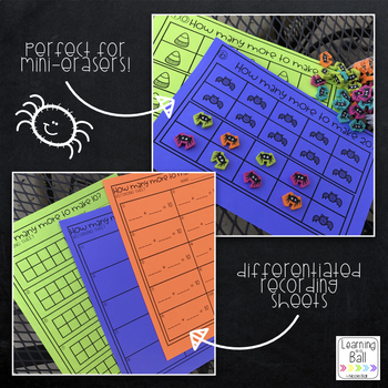 Halloween Combinations of 10 and 20 Task Cards