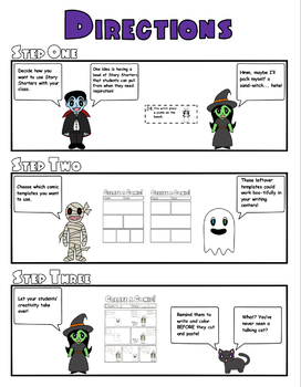 halloween comic strip template  Halloween Comic Strip Writing Templates, Characters, and Story Starters
