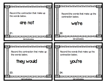 Contraction Task Cards  2.L.2.c with a Halloween Theme