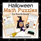 Halloween Math Puzzles - 4th Grade Common Core