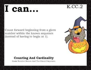 Halloween Common Core Math Standards Poster all grades K-5 - Superpack!