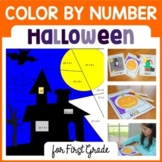 Halloween Color by Number (first grade)  Color by Number, addition, subtraction