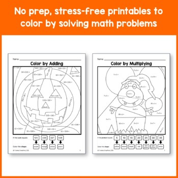 Halloween Color by Number (fourth grade) Color by Multiplication & Rounding