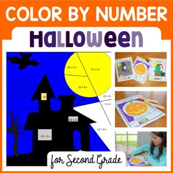 Halloween Color by Number (second grade) Color by Addition
