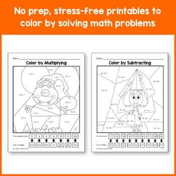 Halloween Color by Number (third grade) Color by Multiplication, Rounding & More