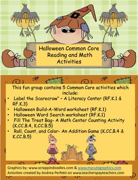 Halloween Common Core Reading and Math Activities