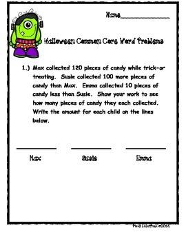 Halloween Common Core Word Problems
